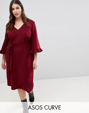 photo Kimono Frill Sleeve Midi Dress by ASOS CURVE, color Dark Red - Image 1