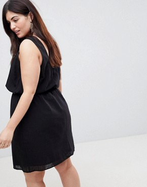 photo Casual Mini Dress in Grid Texture by ASOS CURVE, color Black - Image 2