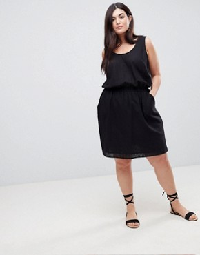 photo Casual Mini Dress in Grid Texture by ASOS CURVE, color Black - Image 4
