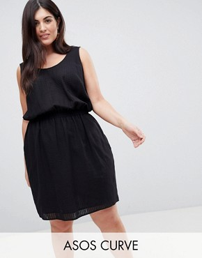 photo Casual Mini Dress in Grid Texture by ASOS CURVE, color Black - Image 1