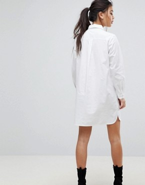 photo Cotton Mini Shirt Dress by ASOS PETITE, color White - Image 2