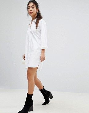 photo Cotton Mini Shirt Dress by ASOS PETITE, color White - Image 4