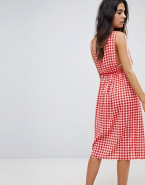 photo Gingham Maxi Beach Dress by Lost Ink, color Multi Print Red - Image 2