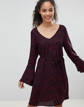 photo Anika Print Flounce Dress with Flared Sleeve by Only, color Navy/Red Dots - Image 1