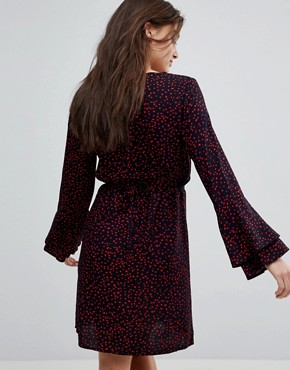 photo Anika Print Flounce Dress with Flared Sleeve by Only, color Begonia Pink Dots - Image 2