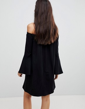 photo Off Shoulder Mini Dress with Trumpet Sleeve by ASOS TALL, color Black - Image 2