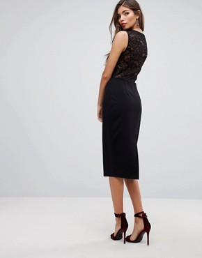 photo Cowl Front Midi Pencil Dress with Lace Back by ASOS, color Black - Image 2