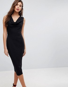 photo Cowl Front Midi Pencil Dress with Lace Back by ASOS, color Black - Image 1