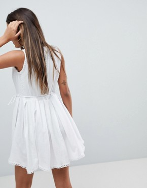 photo Mini Wrap Sundress with Embroidered Trims by ASOS, color Ivory - Image 2