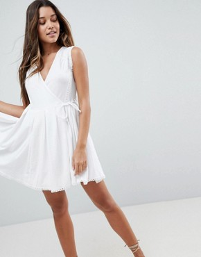 photo Mini Wrap Sundress with Embroidered Trims by ASOS, color Ivory - Image 1