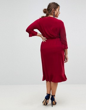 photo Wrap Front Midi Dress with Frill Detail by ASOS CURVE, color Blackcurrant - Image 2