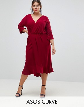 photo Wrap Front Midi Dress with Frill Detail by ASOS CURVE, color Blackcurrant - Image 1