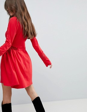 photo Mini Skater Sundress with Lace Panels and Frill Cuffs by ASOS, color Red - Image 2