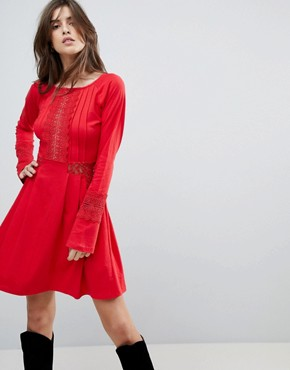 photo Mini Skater Sundress with Lace Panels and Frill Cuffs by ASOS, color Red - Image 1