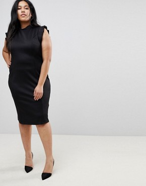 photo Midi High Neck Pencil Dress with Cut Out Back and Shoulder Detail by ASOS CURVE, color Black - Image 2