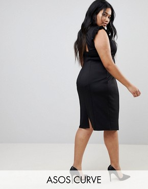 photo Midi High Neck Pencil Dress with Cut Out Back and Shoulder Detail by ASOS CURVE, color Black - Image 1