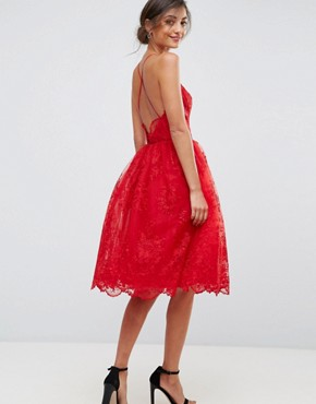 photo High Neck Scalloped Lace Dress by Chi Chi London Tall, color Red - Image 2