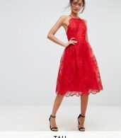 photo High Neck Scalloped Lace Dress by Chi Chi London Tall, color Red - Image 1