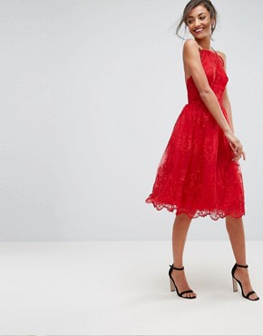 photo High Neck Scalloped Lace Dress by Chi Chi London Tall, color Red - Image 4