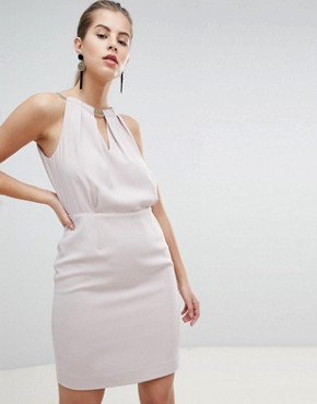 photo Embellished High Neck Pencil Dress by Morgan, color Light Lilac - Image 1