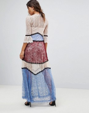 photo Panelled Contrast Lace Maxi Dress by Morgan Premium, color Multi - Image 2