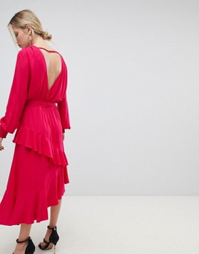 photo Dress with Frill Overlay by Morgan, color Red - Image 2