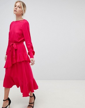 photo Dress with Frill Overlay by Morgan, color Red - Image 1