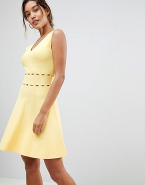photo Knitted Full Prom Midi Dress by Morgan, color Yellow - Image 1