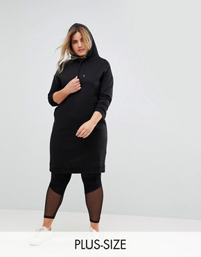 photo Hooded Sweat Dress by New Look Curve, color Black - Image 1