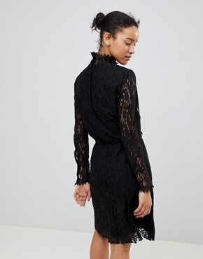 photo Lace Dress with High Neck by See U Soon, color Black - Image 2