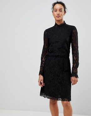 photo Lace Dress with High Neck by See U Soon, color Black - Image 1