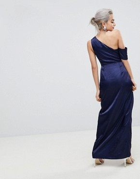 photo Hammered Satin One Shoulder Maxi Dress by ASOS PETITE, color Navy - Image 2