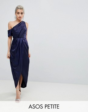 photo Hammered Satin One Shoulder Maxi Dress by ASOS PETITE, color Navy - Image 1