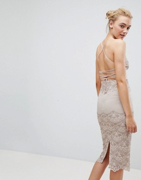 photo Delicate Placement Lace Cami Midi Pencil Dress by ASOS TALL, color Nude - Image 2