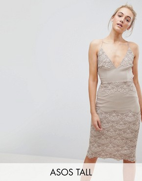 photo Delicate Placement Lace Cami Midi Pencil Dress by ASOS TALL, color Nude - Image 1