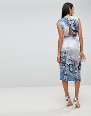 photo Twist Front Midi Pencil Dress in Abstract Print by ASOS TALL, color Multi - Image 2