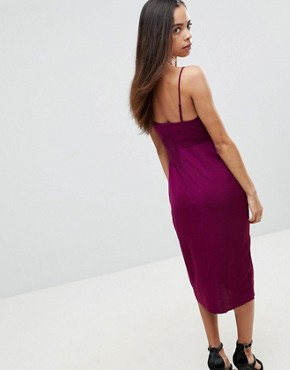 photo Hammered Satin Strappy Pencil Midi Dress by ASOS PETITE, color Berry - Image 2