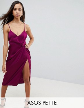 photo Hammered Satin Strappy Pencil Midi Dress by ASOS PETITE, color Berry - Image 1