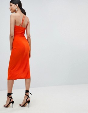 photo Hammered Satin Strappy Pencil Midi Dress by ASOS TALL, color Orange - Image 2
