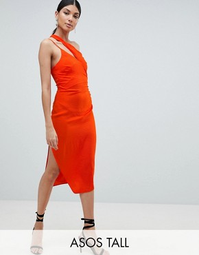 photo Hammered Satin Strappy Pencil Midi Dress by ASOS TALL, color Orange - Image 1