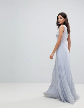 photo Lace Top Pleated Maxi Dress by ASOS DESIGN Tall, color Pale Blue - Image 2