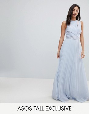 photo Lace Top Pleated Maxi Dress by ASOS DESIGN Tall, color Pale Blue - Image 1