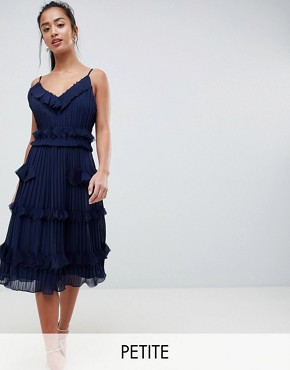 photo Pleated Ruffle Skater Dress by True Decadence Petite Premium, color Navy - Image 1