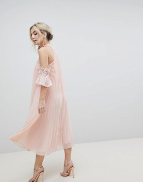 photo Pleated Swing Dress with Cold Shoulder Detail by True Decadence Petite, color Pale Peach - Image 2