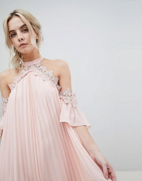 photo Pleated Swing Dress with Cold Shoulder Detail by True Decadence Petite, color Pale Peach - Image 3