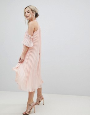 photo Pleated Swing Dress with Cold Shoulder Detail by True Decadence Petite, color Pale Peach - Image 4