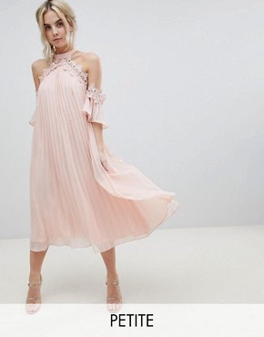 photo Pleated Swing Dress with Cold Shoulder Detail by True Decadence Petite, color Pale Peach - Image 1