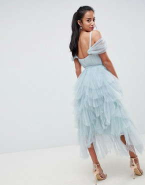 photo Layered Tulle Cami Midi Dress by True Decadence Petite Premium, color Duck Egg Grey - Image 2