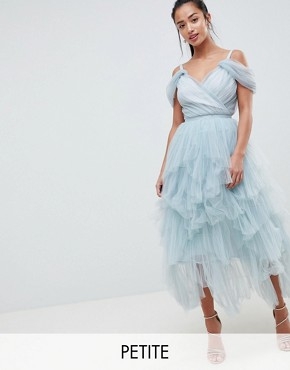 photo Layered Tulle Cami Midi Dress by True Decadence Petite Premium, color Duck Egg Grey - Image 1