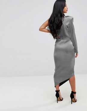 photo One Shoulder Metallic Pencil Dress by John Zack Petite, color Liquid Silver - Image 2